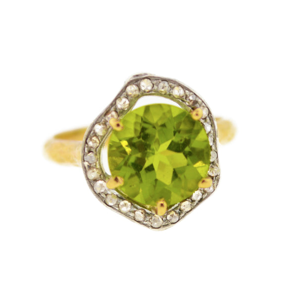 Peridot Pave Ring