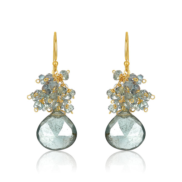 Moss Aquamarine Cluster Earrings