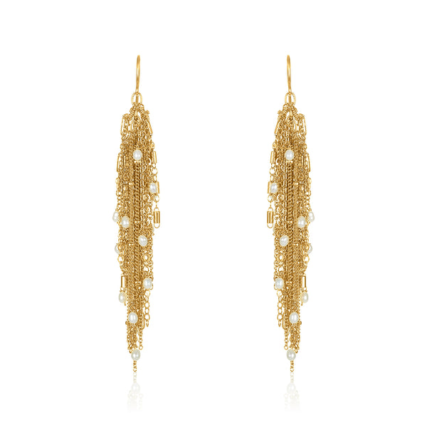 Aria Waterfall Earrings in Pearl