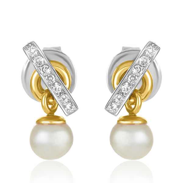 Pave Diamond Bar Earrings -Pearl Drop