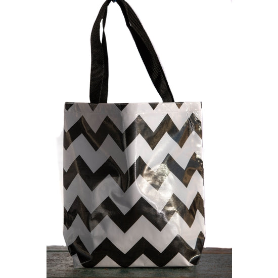 Oilcloth Tote Medium Black and White Zig-Zag