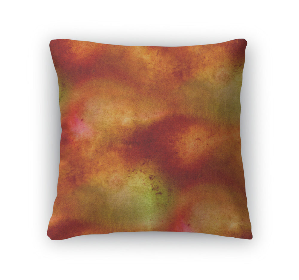 Throw Pillow, Watercolor Isolated Brown Red Orange Spot Abst
