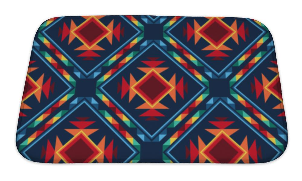 Bath Mat, Tribal Abstract Pattern Aztec Geometric