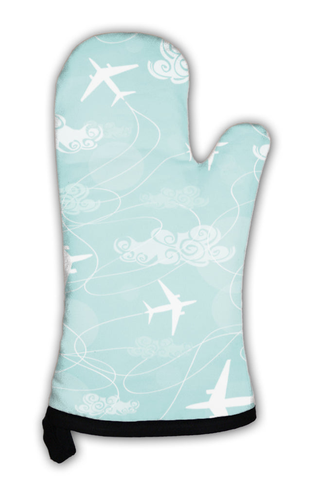 Oven Mitt, Pattern Of Airplanes Flying In The Sky
