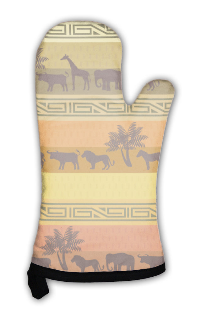 Oven Mitt, African Style With Wild Animals And Abstract Signs