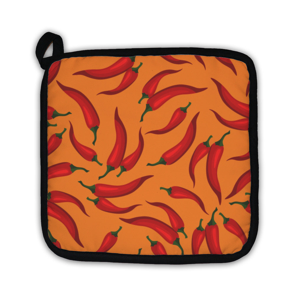 Potholder, Pattern With Fresh Ripe Chili Peppers