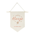 Personalized Family Last Name Thankful Always Hanging Wall Banner