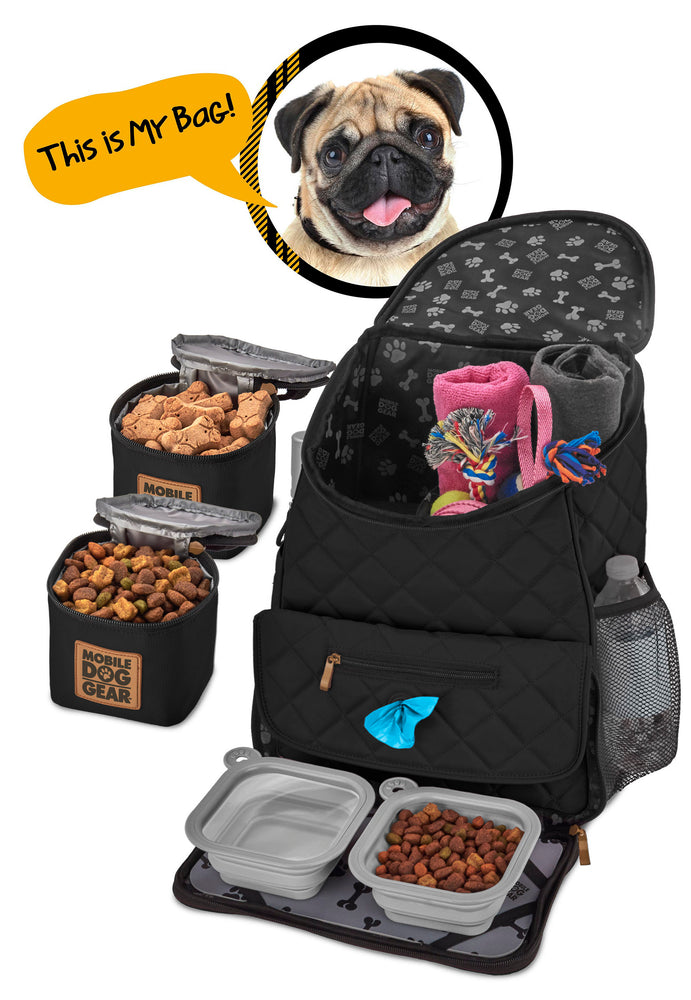 Bundle: ODG Day Away Tote Bag TM (Black), ODG Dine Away Set (Small Dogs) (Black) and ODG Weekender Backpack TM (Black)