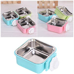 Stainless Steel Pet Crate Bowl Removable Cage Hanging Bowls with Bolt Holder for Pets