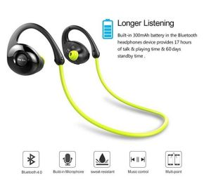 Gobuy Mart Running Headphones, Wireless Bluetooth V4.0 Earbuds Sweatproof Stereo Workout Sports Headphones with Mic for Smartphones