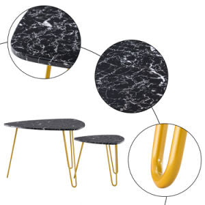 Set of 2 Nesting Triangle End Table - Marble