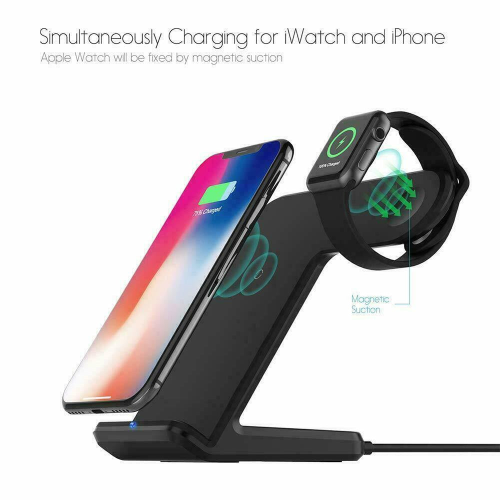 2 in1 Wireless Charging Dock Stand For Apple iPhone 8/XR/X/XS Max/11 Pro Max