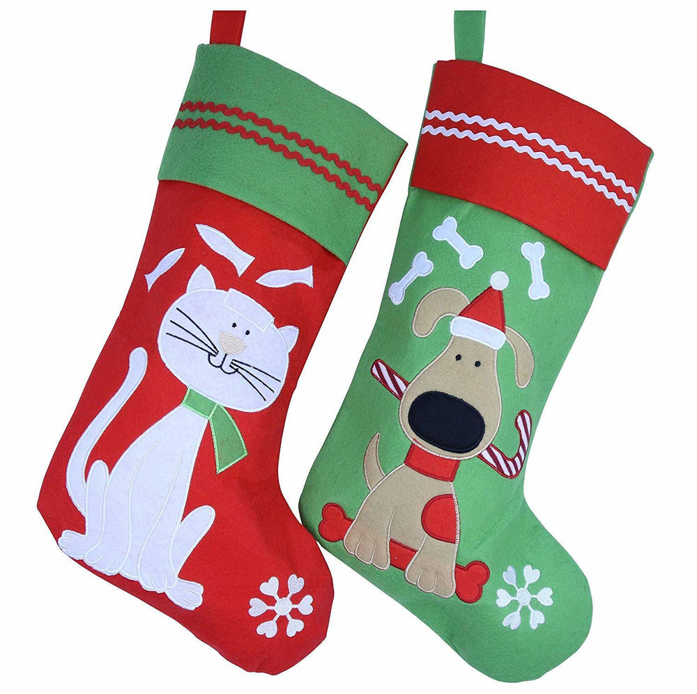 2pc Lovely Embroidered Christmas Stockings Dog or Cat