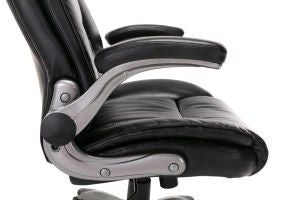 [Promotion]Office Chair High Back Leather Executive Computer Desk Chair - Flip-up Arms and Adjustable Tilt Angle Swivel Chair Thick Padding for Comfort and Ergonomic Design for Lumbar Support