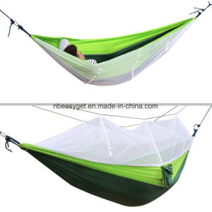Double Camping Hammock with Mosquito Net Nylon Fabric Hammock for Beach, Traveling, Hiking, Mountain, Adventure, Outdoor Jungle