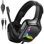 ONIKUMA advanced 4D gaming headset, 7.1 surround sound with 50mm driver, 360° noise-cancelling microphone with mute and volume control, lightweight ergonomic cool RGB headset for PS4, Xbox One, Switch