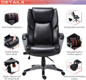 Bonded Leather Office Chair - Adjustable Built-in Lumbar Support and Tilt Angle High Back Executive Computer Desk Chair for Office Workers & Students