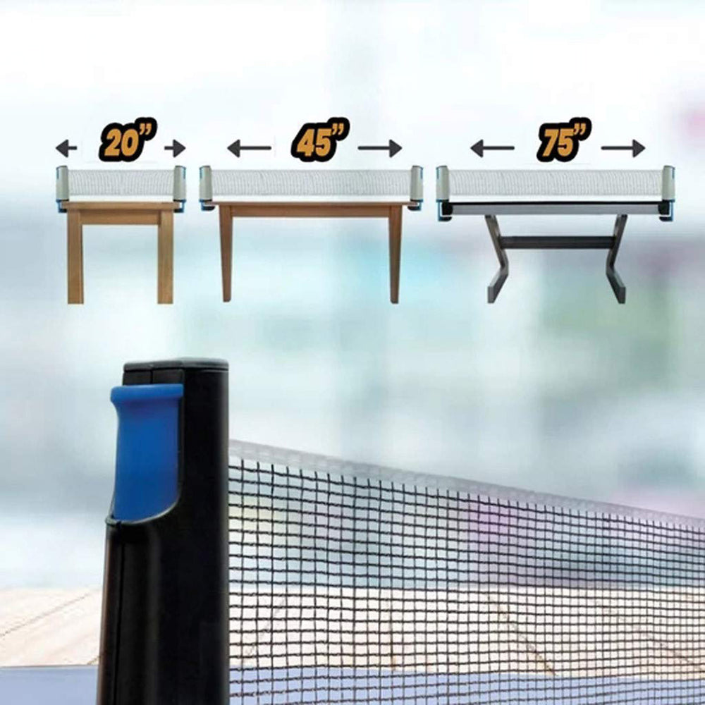 Ping Pong Portable Net and Post Set with PVC Storage Bag, Retractable Table Tennis Net Replacement, 6 Feet 1.8 M, Fits Tables Up to 2.0 inch (5.0 cm)