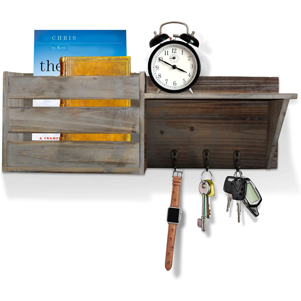 Rustic Wall Mounted Key & Mail Holder