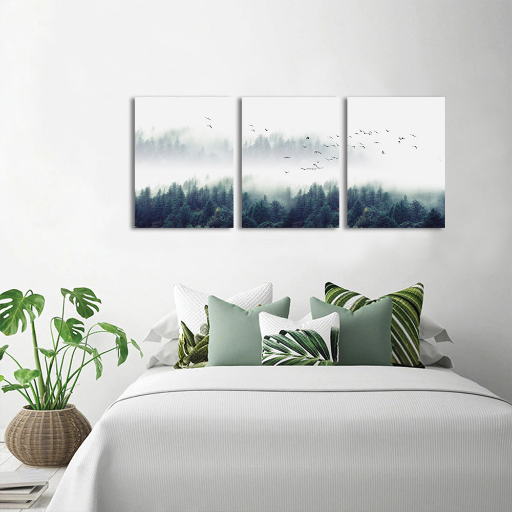 Abstract Canvas Art - Misty Forest Wall