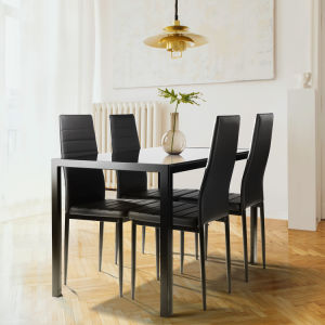 Free shipping 5 piece dining table set for 4, kitchen tempered glass dining table, 4 faux leather chairs, black