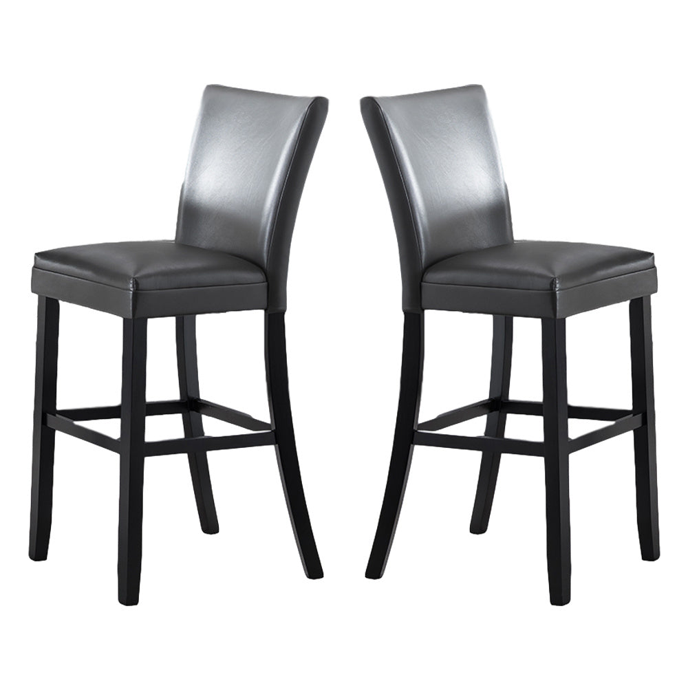Dining Chair Bar Stool Dining Room Industrial Bar Chair Set PU Cushion Diner Chair with Low Back Kitchen Chairs 2Pcs Black
