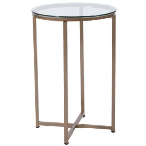 Greenwich Collection Round Glass End Table with Cross Brace Matte Frame Clear/Matte Gold