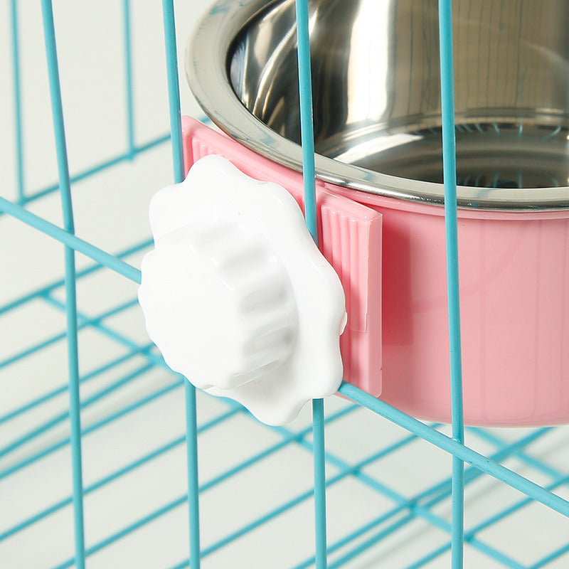 Removable Hanging Food Stainless Steel Water Bowl Cage Bowl for Dogs Cats Birds Small Animals