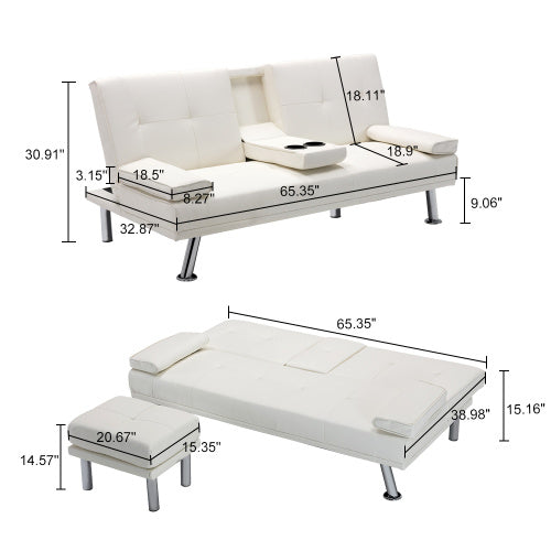 Air Leather Sofa Bed Folding Futon