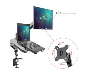 "Dual Monitor Stand and Laptop Desk Mount combo with Double Gas Spring Arms, Full-Motion Height Adjustment and Clamp/Grommet Mounting for Two Screens 15"" to 27"""