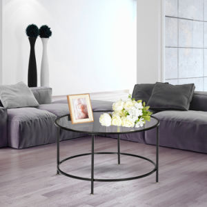 Tempered Glass Round Iron Coffee Table