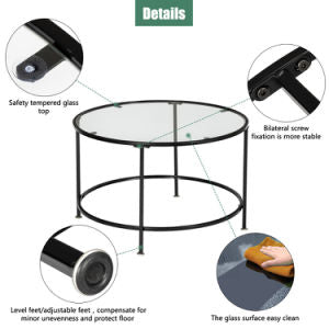 2 Layers 5mm Thick Tempered Glass Countertops Round Wrought Iron Coffee Table Black