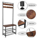 Industrial Coat Rack Storage Bench, Pipe Style Hall Tree with 9 Hooks, Multifunctional Sturdy Iron Frame Large Size
