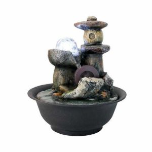 Little Waterwheel Tabletop Fountain with LED Lights+Ball