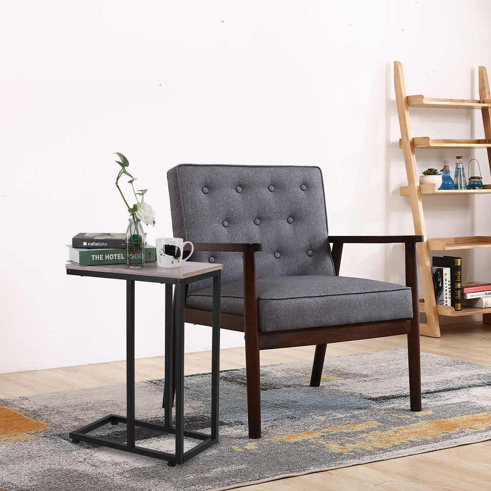 C Table Sofa Side Table for Small Space, Snack Table with Wood Finish and Steel Construction for Couch and Bedside