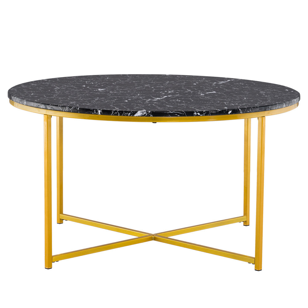 "36"" Round Marble Coffee Table - Black"