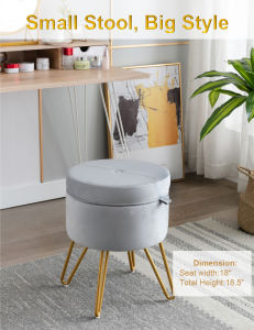 CoVibrant Velvet Vanity Stool with Storage and Tray Mid Century Small Round Ottoman for Bedroom Makeup Desk Living Room