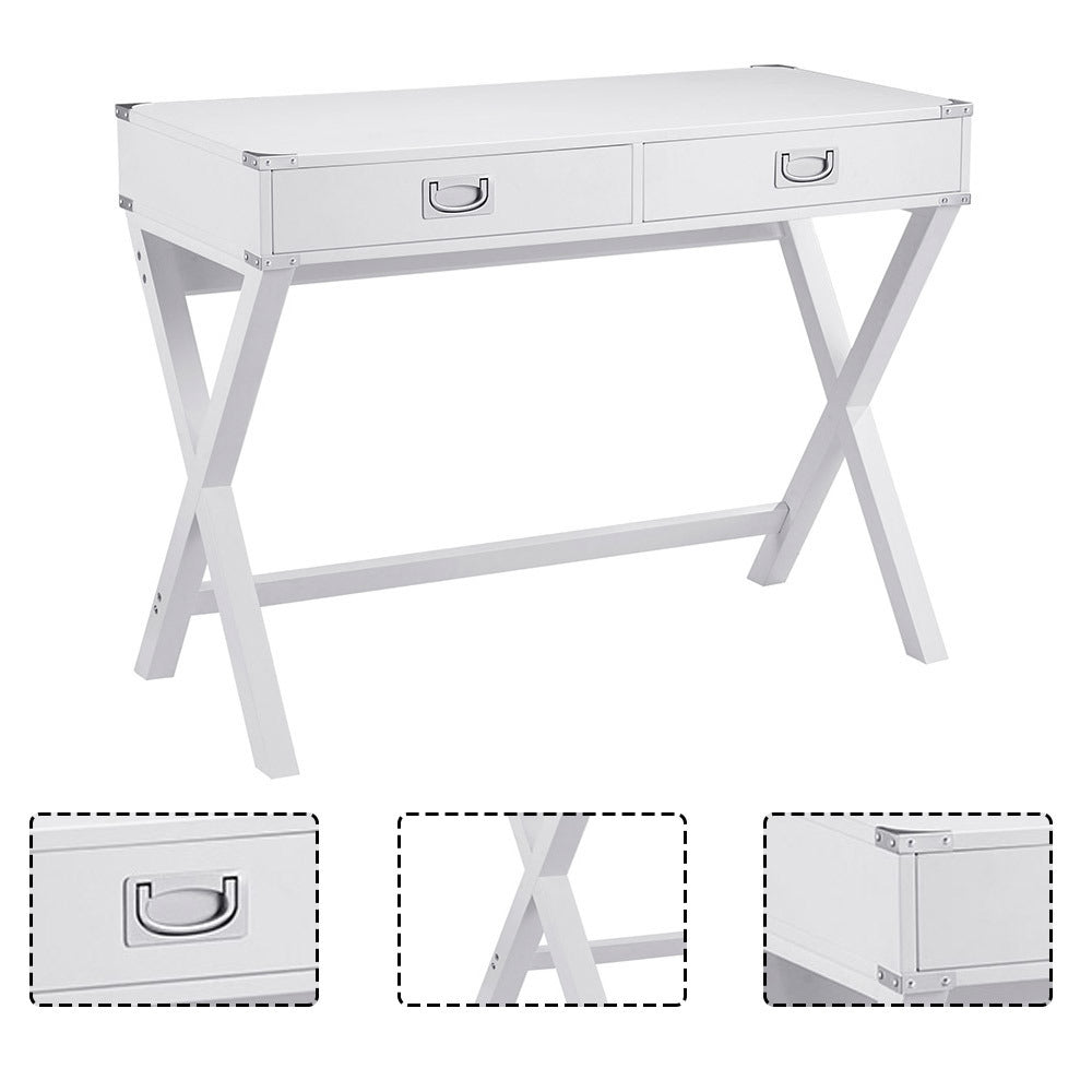 Industrial Wooden Computer Desk with 2 Drawers Sturdy Office Desk, Simple Study Makeup Vanity Table Modern Furniture for Home Office Learning Desk