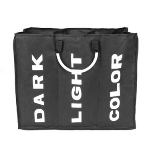 Black Portable Three Section Large Capacity Laundry Hamper