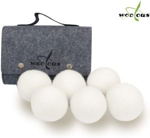 Woolous Wool Dryer Balls Organic XL 6 Pack, Premium New Zealand Non-Toxic Laundry Dryer Ball,Handmade Reusable Natural Fabric Softener,Reduce Wrinkles,Saves Drying Time Felted Eco Dryer Ball