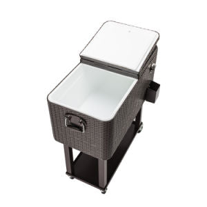 80QT Rolling Outdoor Patio Cooler Cart on Wheels Portable Ice Chest with Shelf