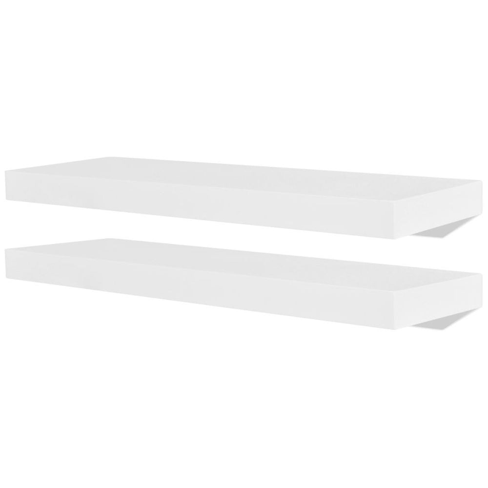 Two stylish white wall-mounted shelves with a weight of 40 pounds, wall-mounted floating shelves for use in bedrooms, bathrooms, living rooms, kitchens