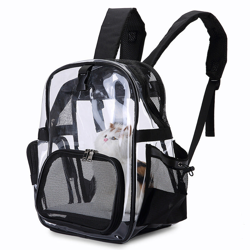 Transparent Pet Backpack Cat Backpack Carrier for Small Dog Kittens Breathable Mesh Window Travel Carrier Bag Weight up To 10lbs for Puppy Kitty Travel