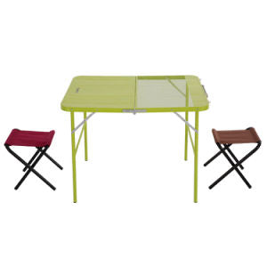two highly multifunctional combined center half-folding desks with double chairs