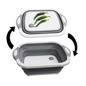 Multifunction Sink Cutting Board Chopping Board Folding Drain Basket Collapsible Cutting Board with Dish Tub Space Save Washing Board
