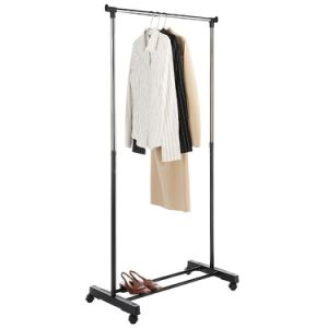 Portable Rolling Heavy Duty Stand Clothes Rack Single Hanging Garment Bar Hanger
