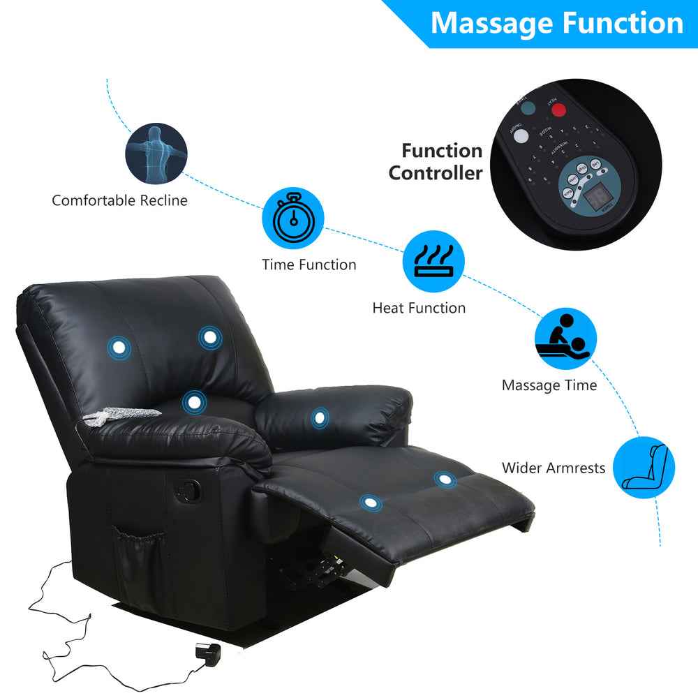 Recliner Chair Massage Rocker with Heated Leather