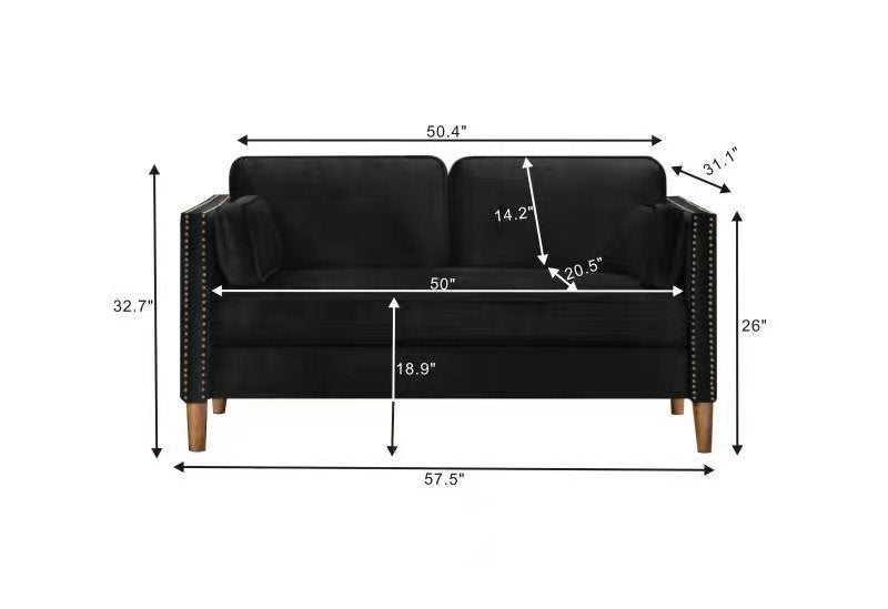 Double seat sofa with armrests