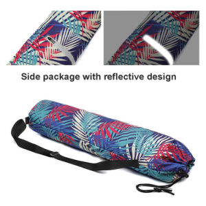 Portable Drawstring Printed Canvas Gym Fitness Yoga Mat Carry Pouch Shoulder Bag