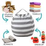Stuffed Animal Storage Bean Bag Chair for Kids Cotton Canvas Large Size 38inch (Gray)